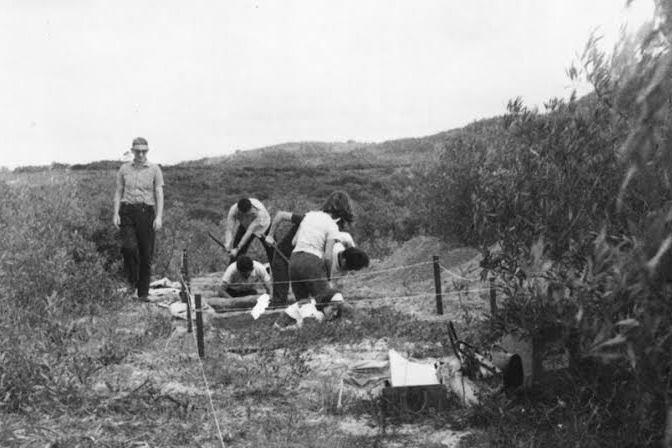 Walter Piazza, à esquerda, em escavação de sítio cerâmico Guarani na Ilha de Santa Catarina